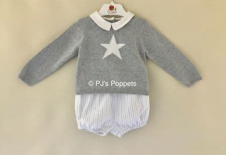 BABY BOYS TRADITIONAL STYLE STAR JUMPER JAM PANTS SET GREY GREEN STRIPE
